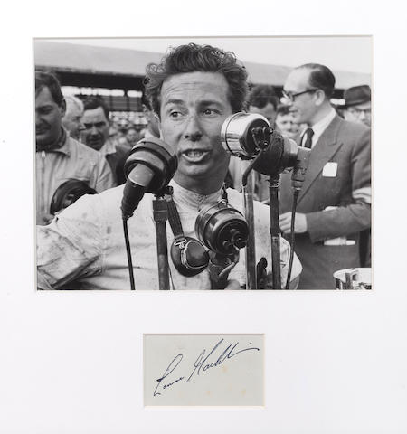 A photograph of Lance Macklin mounted with his autograph,