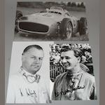 A signed photographic print of Fangio in the Mercedes W196,
