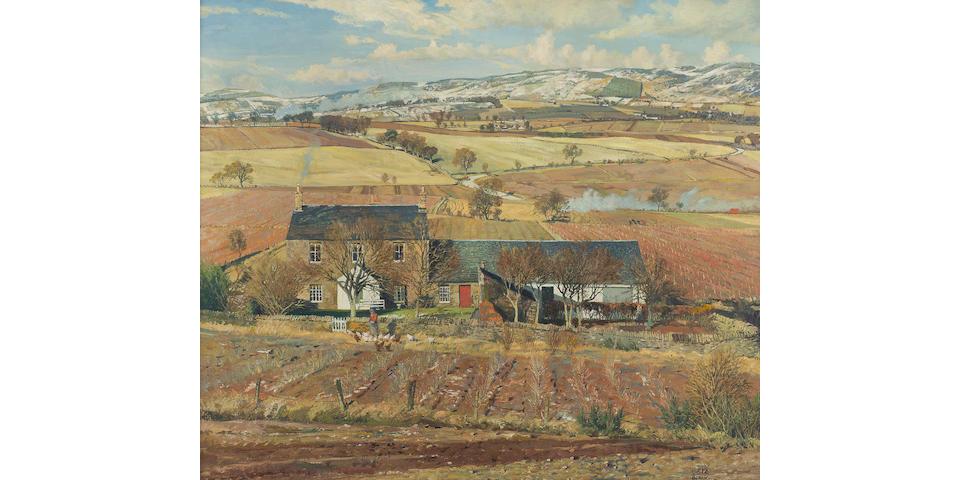 James McIntosh Patrick RSA ROI ARE LLD (British, 1907-1998) The Sidlaws from Birkhill 63.5 x 76.5 cm. (25 x 30 1/8 in.)
