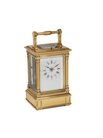 A rare late 19th century French lacquered brass Westminster bell-chiming carriage clock Richard & Co, number 158 2