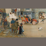 'Town', a motoring lithographic print after Thackeray,