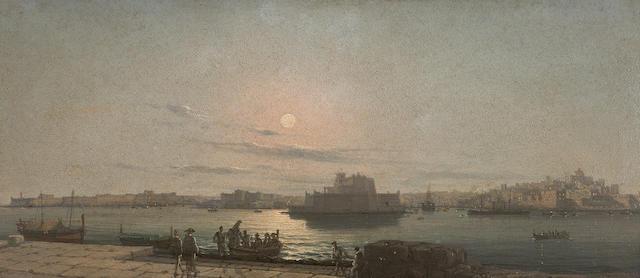 Girolamo Gianni (Italian, 1837-1895) Valetta 17 x 40 cm. (6 11/16 x 15 3/4 in.)