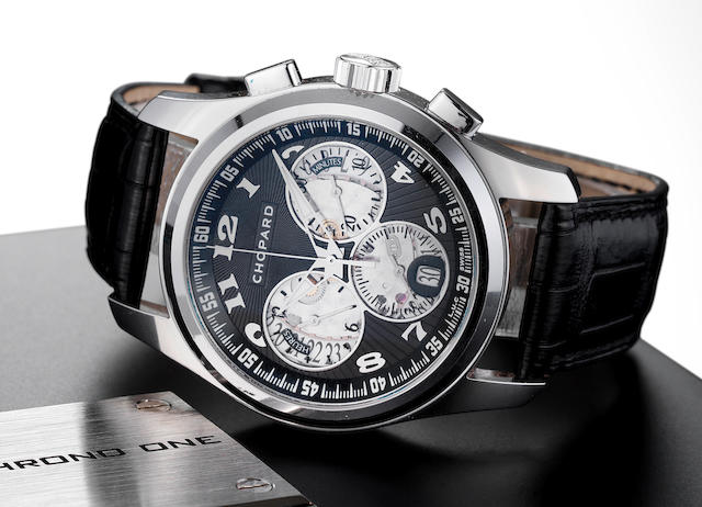 Chopard. A very fine 18ct white gold automatic calendar flyback chronograph wristwatch with presentation box