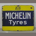 A pre-WWI 'Michelin Tyres' enamel sign,