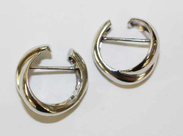 A pair of 18ct white gold hooped earrings