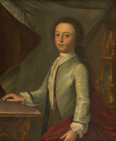 Attributed to Cosmo Alexander (probably Aberdeen 1724-1772 Edinburgh) Portrait of a young gentleman, said to be John Hook 67 x 54 cm. (26 3/8 x 21 1/4 in.)