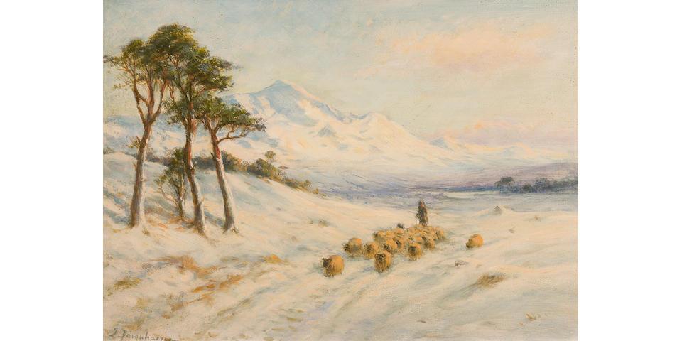 Joseph Farquharson, RA (British, 1846-1935) To Winter Quarters at Strathpeffer 24.5 x 34.5 cm. (9 5/8 x 13 9/16 in.)