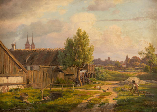 Constantin (Carl Christian Constantin) Hansen (Danish, 1804-1880) Farmstead with townscape beyond 36 x 50 cm. (14 3/16 x 19 11/16 in.)