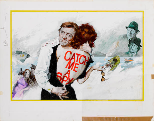 The original poster artwork and design by Arnaldo Putzu for 'Catch Me A Spy' (aka Keep Your Fingers Crossed/ To Catch A Spy), 1974,