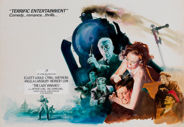 The Lady Vanishes, 1979: The original British Quad poster artwork and design,  for the Style B poster, believed to be by Arnaldo Putzu,