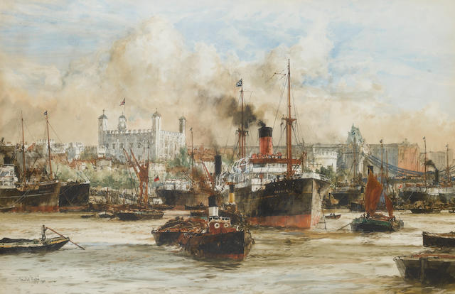 Charles Edward Dixon (British 1872-1934) The Tower of London from the Thames