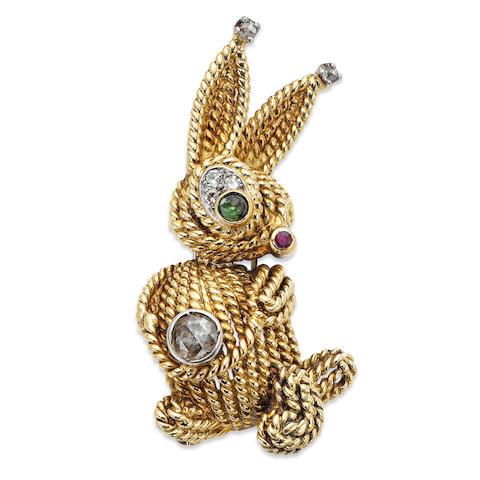 A multi-gem set rabbit brooch, by Van Cleef & Arpels,