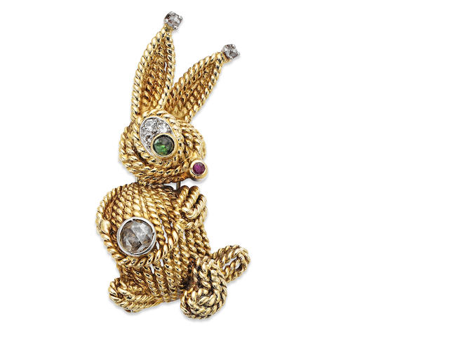 A multi-gem set rabbit brooch, by Van Cleef & Arpels,