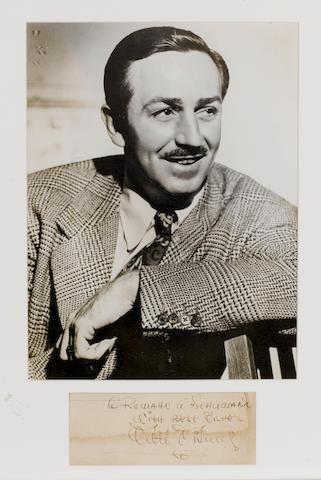 Walt Disney: A large format autograph,