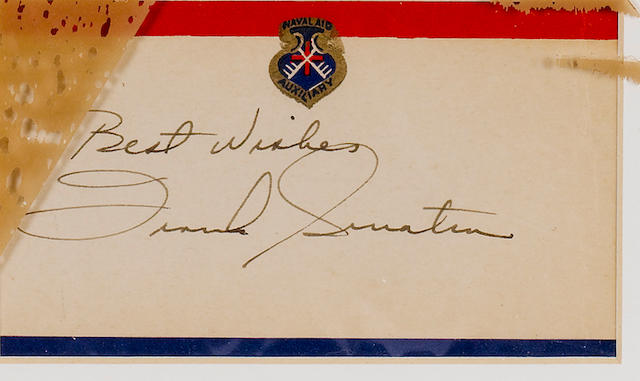Frank Sinatra: An autographed 'Naval Aid Auxiliary' slip,