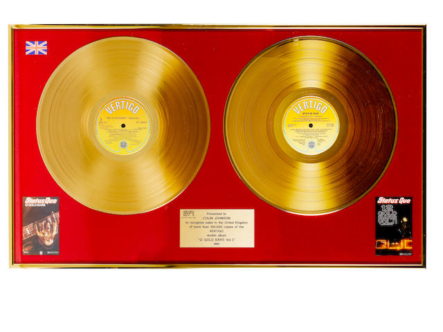 Status Quo: A BPI 'Gold' Award, for the double album '12 Gold Bars',