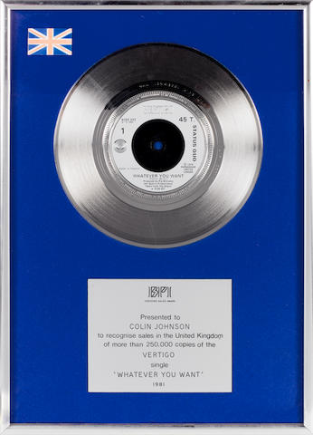 Status Quo: A BPI 'Silver' Award, for the single 'Whatever You Want',