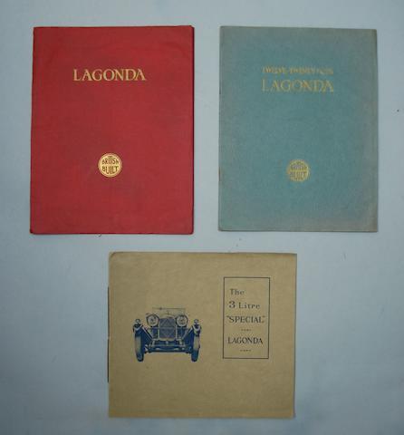 Three Lagonda sales brochures, 1930s,