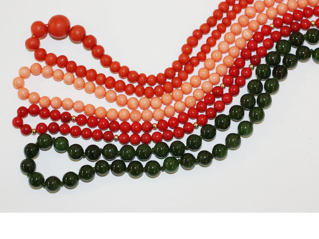 Three coral bead necklaces and a jade bead necklace