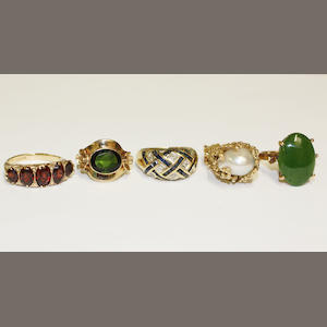 Five gem set dress rings