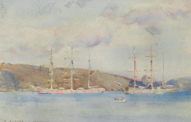 Henry Scott Tuke, RA, RWS (British, 1858-1929) Schooners in Carrick Roads ??????????