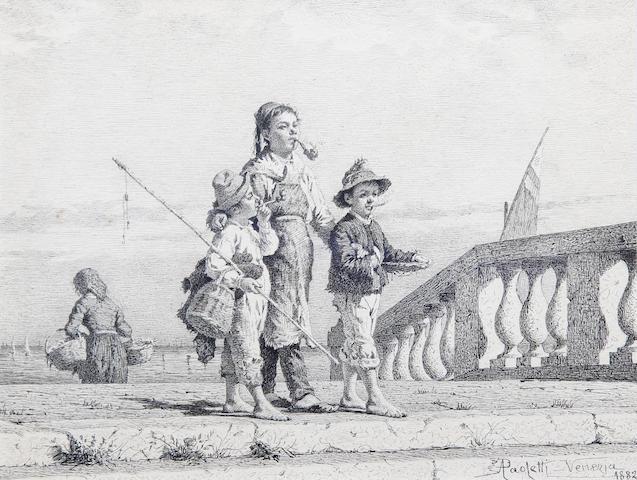 Antonio Ermolao Paoletti (Italian, 1834-1912) Three Neapolitan children on a pier