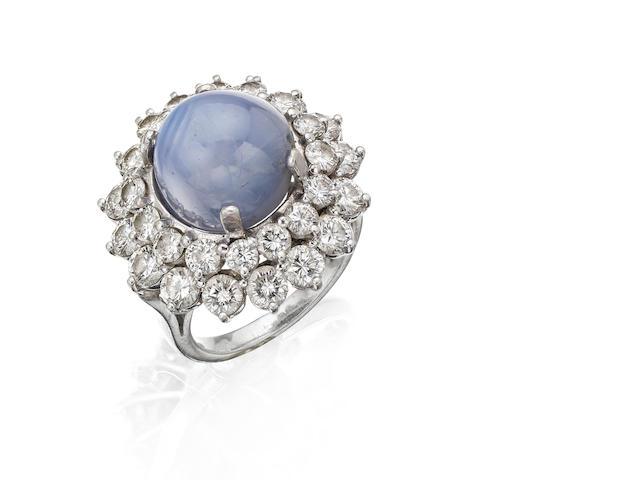 A star sapphire and diamond cluster ring, by Kutchinsky