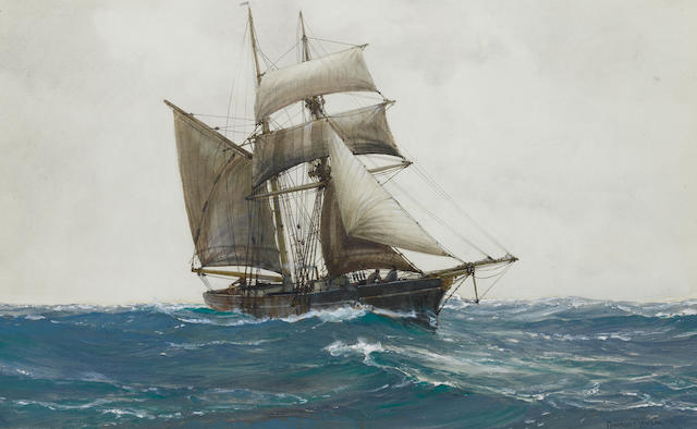 Montague Dawson (British, 1890-1973) The Lonely Sea – a topsail schooner ploughing through the swell