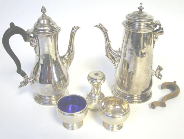A modern silver salver, maker's mark T & Co., Sheffield 1957, together with two coffee pots, pr of plated candlesticks, pr of American salt cellars, and a pepper griner (8)