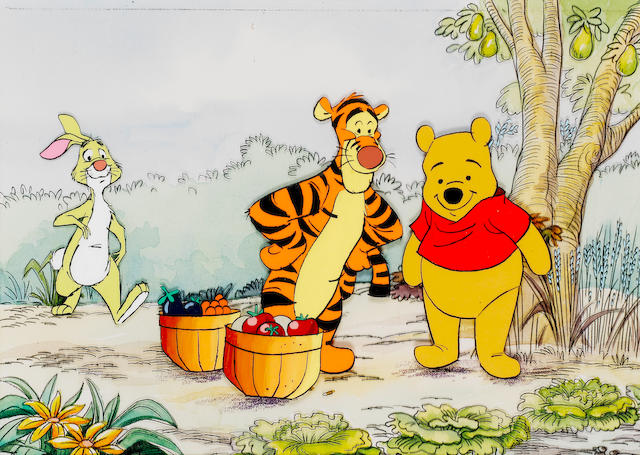 Winnie The Pooh: An original animation celluloid, depicting Pooh, Tigger and Rabbit picking fruit and vegetables,