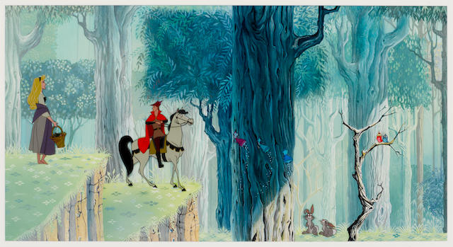 Sleeping Beauty: Walt Disney animation celluloid depicting Briar Rose and Prince Charming, 1959,