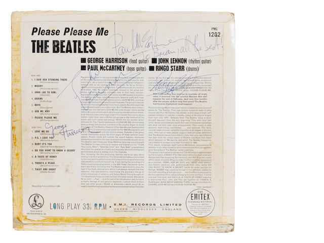 An autographed black/gold label pressing of the Beatles' debut album, 'Please Please Me', 1963,