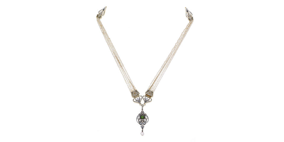 An enamel, seed pearl and gem-set pendant necklace, by Carlo Giuliano,