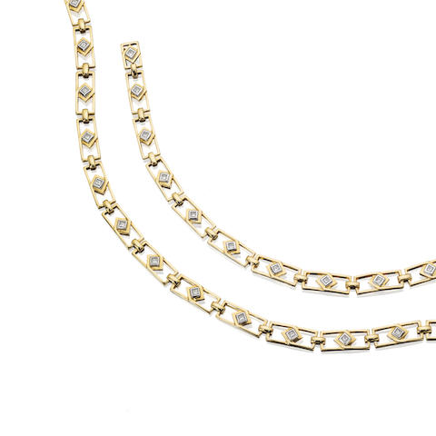 A diamond necklace and bracelet suite