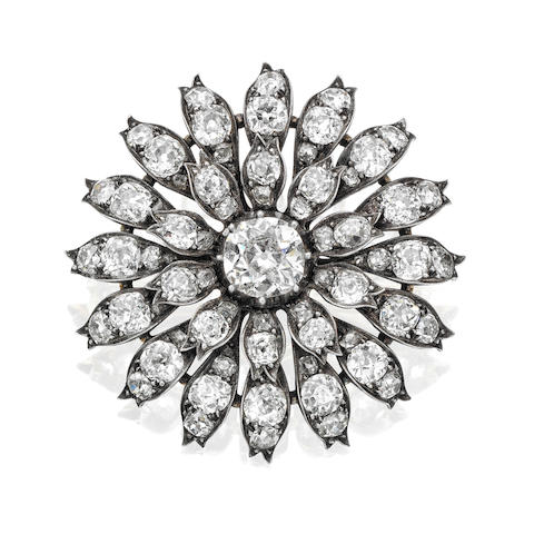 A late 19th century diamond flower brooch,