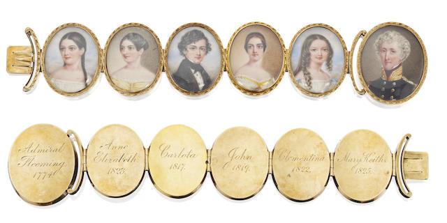 A Victorian portrait miniature bracelet, circa 1840