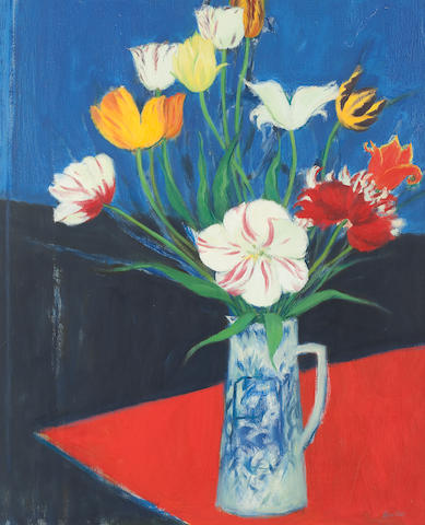 John Houston, OBE RSA RSW RGI SSA (British, 1930-2008) Tulips 76.5 x 63 cm. (30 1/8 x 24 13/16 in.)