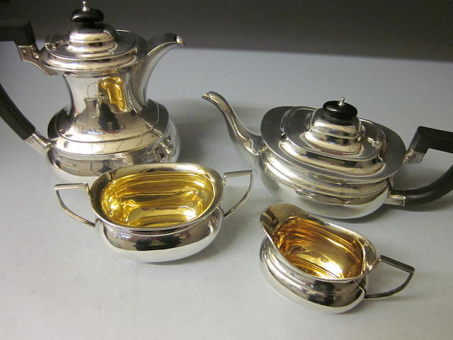 A four piece tea service, Birmingham 1947,