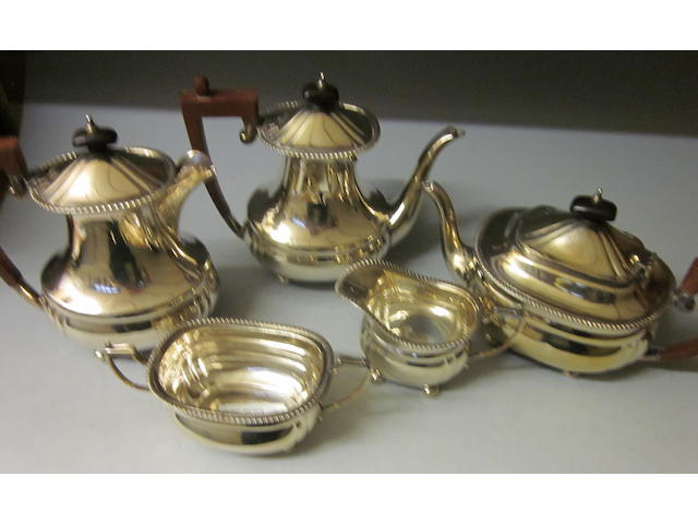 A matching five piece tea and coffee service