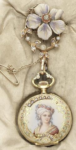 Swiss. A fine late 19th century 14ct gold and enamel decorated fob watch and brooch with original retailer's fitted boxMovement by Le Coultre & Cie, Circa 1895