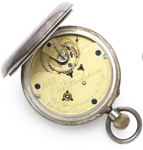 Charles Frodsham. A fine and rare silver open face pocket watch with Karrusel movementNumbered 08959 and 55170, London Hallmark for 1898