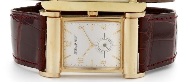 Audemars Piguet. A fine 18ct pink gold rectangular wristwatch Canape model, Case No.D55191, Circa 2000
