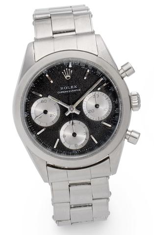 Rolex. A stainless steel chronograph bracelet watch 'Pre-Daytona', Ref:6238, Case No. 1077705, Circa 1967