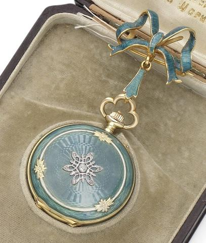 Paul Bühre. A fine 14ct gold guilloché enamel and diamond set full hunter fob watch together with matching enamel bow shaped brooch Circa 1895