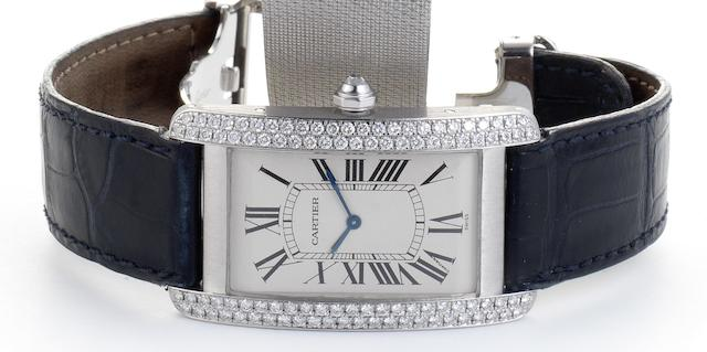 Cartier. An 18ct white gold diamond set manual wind wristwatch Movement No.9407924, Recent