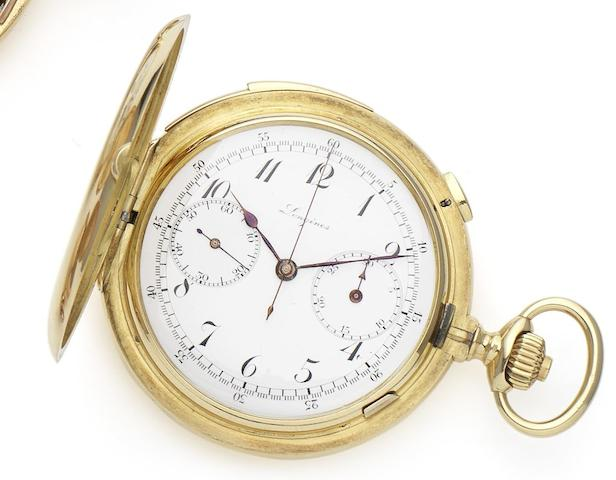 Longines. A fine 18ct gold minute repeating full hunter pocket watchCirca 1910