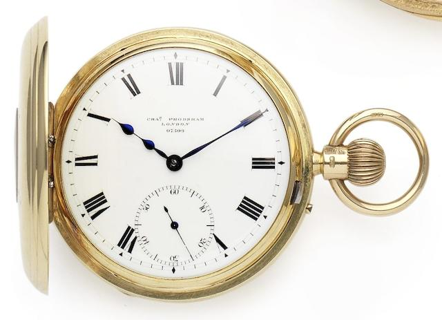 Charles Frodsham. A fine 18ct gold half hunter pocket watchCase, dial and movement numbered 07509, London Hallmark for 1909
