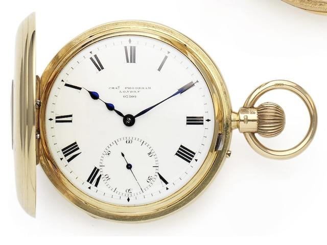 Charles Frodsham. A fine 18ct gold half hunter pocket watch Case, dial and movement numbered 07509, London Hallmark for 1909