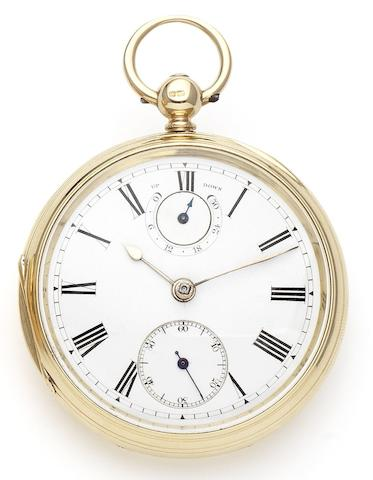 John Goodman. An 18ct gold open face key wind pocket watch with Up and Down dialCase and Movement numbered 80257, London Hallmark for 1882