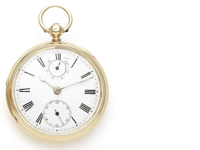 John Goodman. An 18ct gold open face key wind pocket watch with Up and Down dial Case and Movement numbered 80257, London Hallmark for 1882